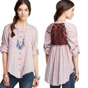 Free People Put Your Back Into It Button Down Top
